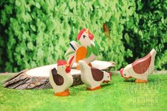 Wooden Animal toy set, Farm Poultry Set, Set of 4 toys, Hen, Rooster, Cock, Chicken, Bio, Toys for Kids, Gifts, Partyfavors for Boys, Girls