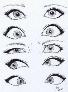 Dibujo de ojos! Tipos de miradas.
