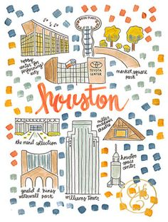 Houston Map Print by EvelynHenson on Etsy