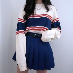 nautical outfit | nautical fashion | #nautical | striped sweater | fashion | #ootd #KoreanFashion