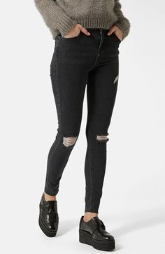 Topshop Moto 'Jamie' Ripped Ankle Skinny Jeans (Black) (Regular, Short & Long) available at #Nordstrom