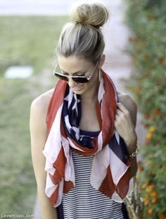 4th of July scarf fashion summer girl outdoors flag america 4th of july