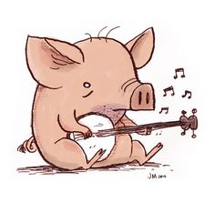 My contribution to Dueling Banjo Pigs. Cartoon Faces, Cartoon Drawings, Animal Drawings, Pig Illustration, Character Illustration, Pig Drawing, Drawing Prompt, Character Art, Character Design