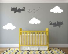 This would be fun to add above the mountain scene I have planned for his room in our new house. - Airplanes Nursery Wall Decal with Fluffy Clouds