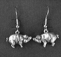 Pig Earrings - Solid Pewter by Earrings and Necklaces. $13.00. RJ429 - Pig Earrings - Solid Pewter. For the pig collector who has everything (almost). They hang from French style surgical steel ear wires. These delightful, little, porcine pretties were cast from a mold made from an old 1930s charm. They hang from French style surgical steel ear wires. Perhaps someone you know would go hog wild over these pig earrings! These little piggies were hand cast of fin...