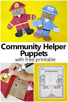 community helpers preschool crafts Community Helper Puppets-Preschool and Kindergarten Community Helper Activities with free printable writing response Community Helpers Lesson Plan, Community Helpers Activities, Community Helpers Kindergarten, Preschool Themes, Kindergarten Activities, Preschool Activities, Kindergarten Freebies, Superhero Preschool, Space Preschool
