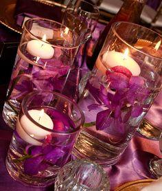 ellyB Wedding: Tyeema & Gerik at Eleven 15 Events - floating candles with sunken petals