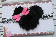 Minnie mouse zebra shabby headband. Newborn, infant, child, adult. $10.50, via Etsy.