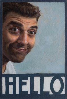 Selfie - oil on postcard - Jared Flynn