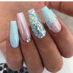 Blue Acrylic Nails, Summer Acrylic Nails, Ocean Blue Nails, Ocean Nail Art, Cute Acrylic Nail Designs, Nail Art Designs, Mermaid Nails, Fire Nails, Manicure E Pedicure