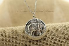the silver elephant locket necklace Antique personalized jewelry steampunk Unique gift vintage bronze
