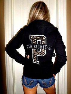 Pink by Victoria's Secret RARE leopard print black zip up hoodie sweatshirt S in Clothing, Shoes & Accessories | eBay