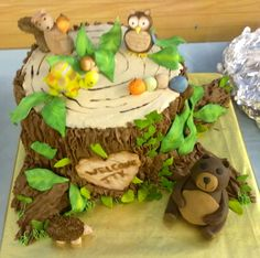 Boys baby shower cake, chocolate filling. The whole cake is edible. Animals and all.
