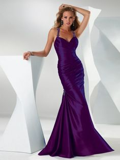 Look phenomenal at your prom, Happidress suggest you this regency halter with beading tiered taffeta mermaid sweep train elegant purple prom dresses