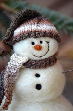 Snowman  Wool Needle Felted Snowmen  Holiday by BearCreekDesign, $50.00