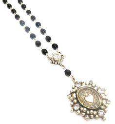 VSA Virgins Saints and Angels Sacred Heart Drop Crystal Rosary Silver Pearl