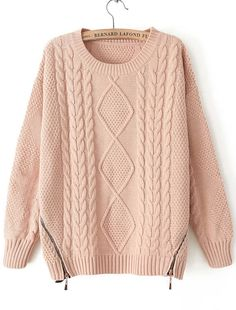 Cable Knit zip Embellished Pink Sweater