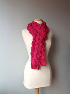 #Raspberry #Knit Aspen #Scarf by #PreciousKnits on Etsy, #$85.00 https://www.etsy.com/shop/PreciousKnits