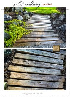 pallet garden A PALLET WOOD WALKWAY or PATH in the garden gets a fresh undertaking. and made it unscathed. See how via Funky Junk Interiors Pallet Walkway, Wood Walkway, Outdoor Walkway, Pallet Pathway Ideas, Wooden Pathway, Wood Path, Walkway Ideas, Garden Paths, Lawn And Garden