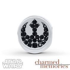 This Star Wars charm features the symbol of the Rebel Alliance on one side and the Imperial Crest on the other. The charm is styled in sterling silver and decorated with black crystals. © & ™ Lucasfilm Ltd.