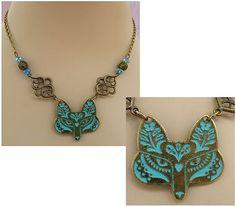 Burnished Gold & Blue Celtic Wolf Pendant Necklace