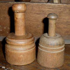 Two Miniature Butter Molds - One Pat. Dated 1866 Primitive Kitchen, Primitive Antiques, Primitive Country, Primitive Decor, Vintage Antiques, Springerle Cookies, Butter Molds, Churning Butter, Vintage Appliances