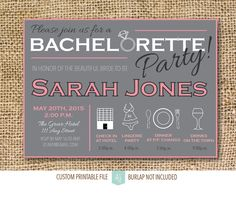 Pink & Grey, Bachelorette Party Invitation- Printable File- Last Fling Party or Hen Party Invitation  Click through to find matching games, favors, thank you cards, inserts, decor, and more.  Or shop our 1000+ designs for all of life's journeys. Weddings, birthdays, new babies, anniversaries, and more. Only at Aesthetic Journeys