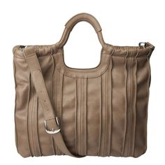 Large Pleated Tote in Taupe Leather by Nine West