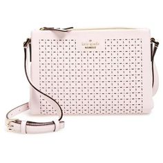 kate spade new york 'milton lane - lilibeth' perforated leather... (€225) ❤ liked on Polyvore featuring bags, handbags, shoulder bags, pink blush, kate spade shoulder bag, leather crossbody purse, leather cross body purse, genuine leather handbags and crossbody handbags