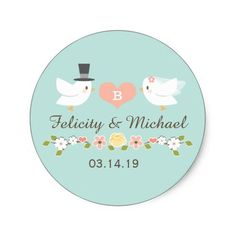 Spring Wedding Thank You Cards AQUA MONOGRAMMED DOVE LOVE BIRDS WEDDING CLASSIC ROUND STICKER