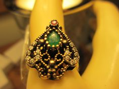 Vintage Art Deco Gold/925 Sterling Silver .55ctw Ruby, Emerald & White Sapphire Two-Tone Ring Sz 7.5, Wt. 5 grams by TamisVintageShop on Etsy