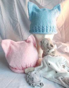Pour les bébés un bonnet oreilles de chat et jolis coeurs - La Grenouille Tricote