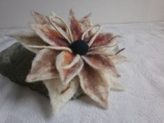Felt Flower Brooch Felt Wool Brooch  White by FashionFeltProducts
