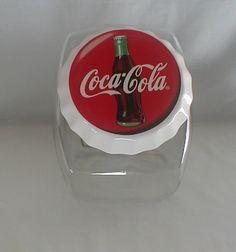 COCA-COLA COKE GLASS PENNY CANDY / COOKIE JAR CERAMIC LID