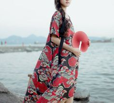 Lost in Kyoto Collection  free size, the dress is loosing fit, very large, you can match a belt or sash to make style. Here's the measurement in cm: Shoulder 42 Chest 108  Length front 82 back 106 Sleeve 22  Japanese fan here: https://www.etsy.com/listing/188695035/lost-in-kyoto-collecti...