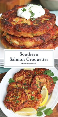 Southern salmon croquettes are a soul food classic! this easy recipe is taken up a notch with one secret ingredient that makes them so delicious! salmoncroquettes southernsalmoncroquettes savoryexperiments com 3 ingredient easy banana bread Fish Recipes, Seafood Recipes, Cooking Recipes, Healthy Recipes, Healthy Food, Seafood Appetizers, Soul Food Recipes, Canned Salmon Recipes, Thai Recipes