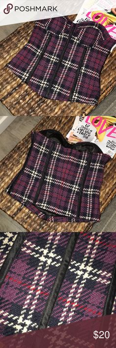 Arden B Bustier Top Plaid almost tweed strapless bustier top.  Back zipper. True to size. Worn once. Arden B Tops
