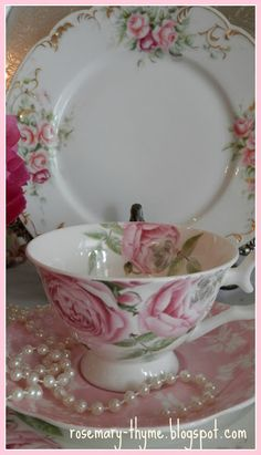 rosecottage.quenalbertini: Roses and Tea Cups | Rosemary and Thyme