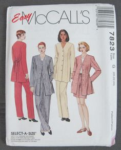 Easy McCalls 7823 Unlined tie Back Jacket Top Pull On Pants Shorts Plus Uncut #McCalls