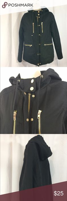 """Utility Jacket w/ Quilted Padded Lining - Zenana Very trendy lightweight black parka size large  Gorgeous gold tone zipper, snaps, 4 zipper pockets on the outside  Cinches at waist from the inside  Hood has a drawstring but is not removable   Bust 38"""", sleeves 24"""", length of parka 26""""  Reposh due to ill fit for me (I didn't read like I should have haha) Zenana Outfitters Jackets & Coats Utility Jackets"""