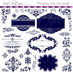 NAVY BLUE Wedding Digital Frames clip art by MSweetboutique, $5.99