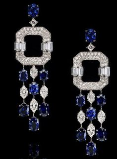 Diamond, Emerald and Platinum Earrings