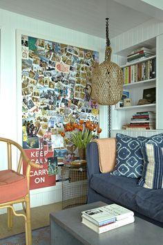 polaroid wall in beach house -- such a cute idea
