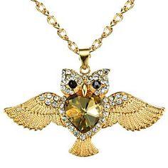 Fashion Champagne Heart Body Owl Pendant Sweater Chain Neck... – USD $ 10.99