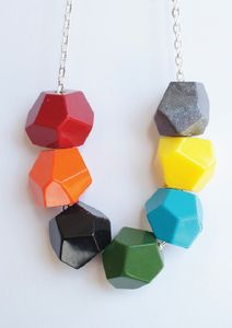 """Handmade  glossy resin geometric beads on silver plated 24"""" chain. Made in Melbourne by the lovely Pirdy.Each bead is approximately 2cm square.    $35"""
