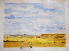 Acuarela.  Durante el día Amarillo semillas Siempre en familia Obra de la exposición Mil grullas para la PAZ