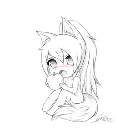 Chibi Fox Girl owo by PotatoChipEry on DeviantArt Easy Chibi Drawings, Anime Girl Drawings, Kawaii Drawings, Manga Drawing, Cute Drawings, Chibi Kawaii, Cute Anime Chibi, Chibi Cat, Chibi Sketch