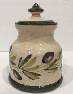 Opera Nova Condiment Jar Canister Multi-Purpose Made In Italy Olives & Branch
