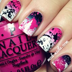 ModNails: GRADIENT SPLATTER NAILS With regular Seche Vite top coat: