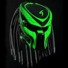 PREDATOR HELMET MOTORCYCLE STREET FIGHTER - GREEN COLOR-FREE SHIPPING